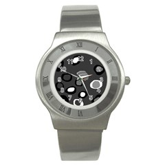 Gray Abstract Pattern Stainless Steel Watch