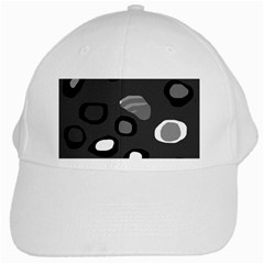 Gray Abstract Pattern White Cap by Valentinaart