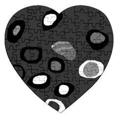 Gray Abstract Pattern Jigsaw Puzzle (heart) by Valentinaart