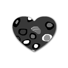 Gray Abstract Pattern Rubber Coaster (heart)  by Valentinaart