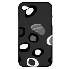 Gray Abstract Pattern Apple Iphone 4/4s Hardshell Case (pc+silicone) by Valentinaart