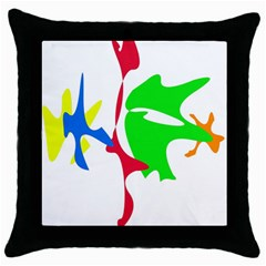 Colorful Amoeba Abstraction Throw Pillow Case (black) by Valentinaart