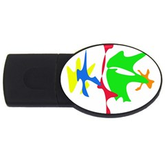 Colorful Amoeba Abstraction Usb Flash Drive Oval (2 Gb)  by Valentinaart