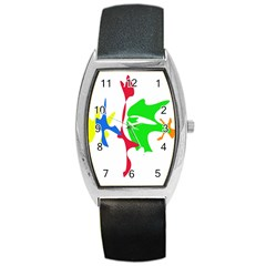 Colorful Amoeba Abstraction Barrel Style Metal Watch by Valentinaart