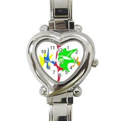 Colorful Amoeba Abstraction Heart Italian Charm Watch by Valentinaart