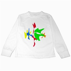 Colorful Amoeba Abstraction Kids Long Sleeve T-shirts by Valentinaart
