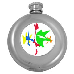 Colorful Amoeba Abstraction Round Hip Flask (5 Oz) by Valentinaart