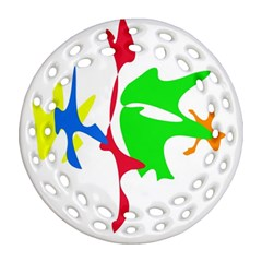 Colorful Amoeba Abstraction Round Filigree Ornament (2side)