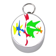 Colorful Amoeba Abstraction Mini Silver Compasses by Valentinaart