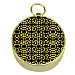 Dots Pattern Yellow Gold Compasses by BrightVibesDesign