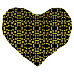 Dots Pattern Yellow Large 19  Premium Flano Heart Shape Cushions by BrightVibesDesign