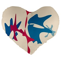 Decorative Amoeba Abstraction Large 19  Premium Flano Heart Shape Cushions by Valentinaart