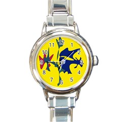 Yellow Amoeba Abstraction Round Italian Charm Watch by Valentinaart