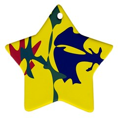 Yellow Amoeba Abstraction Ornament (star)  by Valentinaart