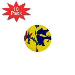 Yellow Amoeba Abstraction 1  Mini Buttons (10 Pack)