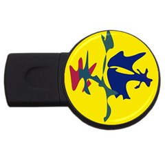 Yellow Amoeba Abstraction Usb Flash Drive Round (2 Gb)  by Valentinaart