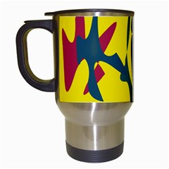 Yellow Amoeba Abstraction Travel Mugs (white) by Valentinaart