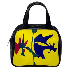 Yellow Amoeba Abstraction Classic Handbags (one Side) by Valentinaart