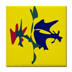 Yellow Amoeba Abstraction Face Towel by Valentinaart