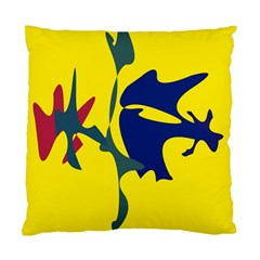 Yellow Amoeba Abstraction Standard Cushion Case (one Side) by Valentinaart
