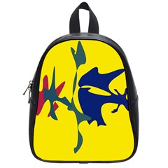 Yellow Amoeba Abstraction School Bags (small)  by Valentinaart