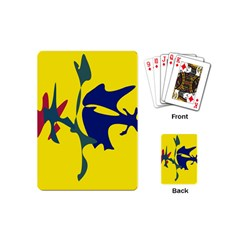 Yellow Amoeba Abstraction Playing Cards (mini)  by Valentinaart