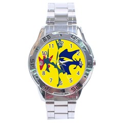 Yellow Amoeba Abstraction Stainless Steel Analogue Watch by Valentinaart