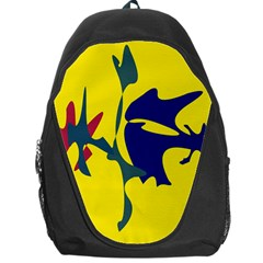 Yellow Amoeba Abstraction Backpack Bag by Valentinaart