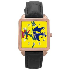 Yellow Amoeba Abstraction Rose Gold Leather Watch  by Valentinaart