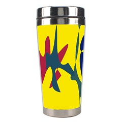 Yellow Amoeba Abstraction Stainless Steel Travel Tumblers by Valentinaart