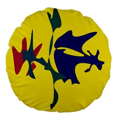 Yellow Amoeba Abstraction Large 18  Premium Flano Round Cushions by Valentinaart