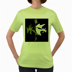 Black And White Amoeba Abstraction Women s Green T-shirt by Valentinaart