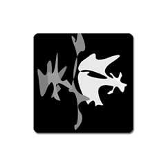 Black And White Amoeba Abstraction Square Magnet by Valentinaart