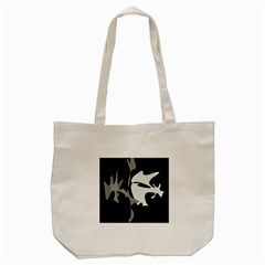 Black And White Amoeba Abstraction Tote Bag (cream) by Valentinaart