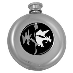 Black And White Amoeba Abstraction Round Hip Flask (5 Oz) by Valentinaart