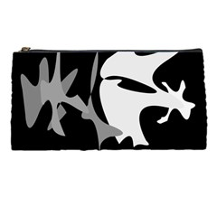 Black And White Amoeba Abstraction Pencil Cases by Valentinaart