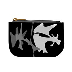 Black And White Amoeba Abstraction Mini Coin Purses