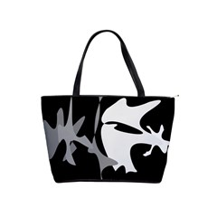 Black And White Amoeba Abstraction Shoulder Handbags by Valentinaart