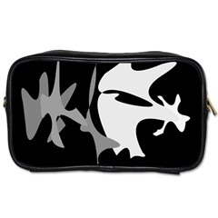 Black And White Amoeba Abstraction Toiletries Bags by Valentinaart