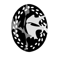 Black And White Amoeba Abstraction Ornament (oval Filigree)  by Valentinaart