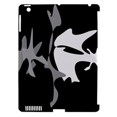 Black And White Amoeba Abstraction Apple Ipad 3/4 Hardshell Case (compatible With Smart Cover) by Valentinaart