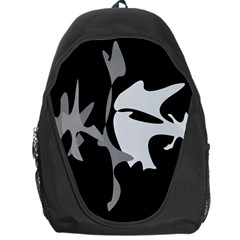 Black And White Amoeba Abstraction Backpack Bag by Valentinaart