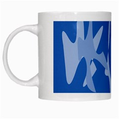 Blue Amoeba Abstraction White Mugs by Valentinaart