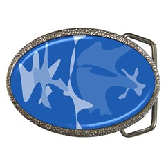 Blue Amoeba Abstraction Belt Buckles by Valentinaart