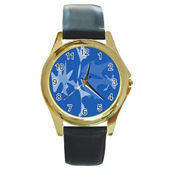 Blue Amoeba Abstraction Round Gold Metal Watch by Valentinaart