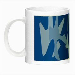 Blue Amoeba Abstraction Night Luminous Mugs by Valentinaart