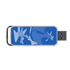 Blue Amoeba Abstraction Portable Usb Flash (one Side) by Valentinaart