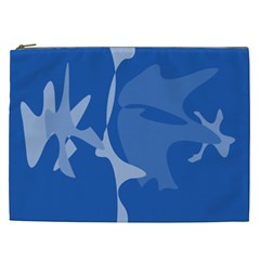 Blue Amoeba Abstraction Cosmetic Bag (xxl)  by Valentinaart