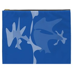 Blue Amoeba Abstraction Cosmetic Bag (xxxl)  by Valentinaart