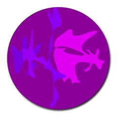 Purple, Pink And Magenta Amoeba Abstraction Round Mousepads by Valentinaart